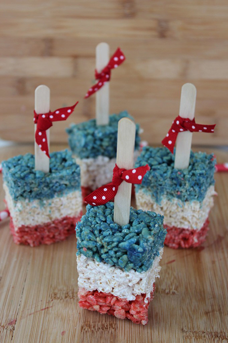 red, white, and blue rice krispies