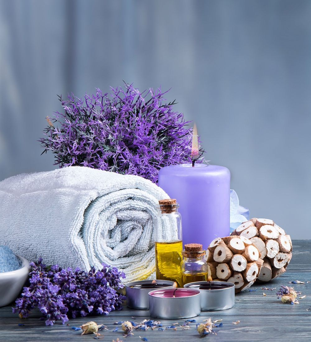 Lavender candles with towel