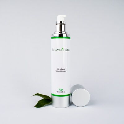 St. James's Well CBD Infused Cream Cleanser With Leaf and cap