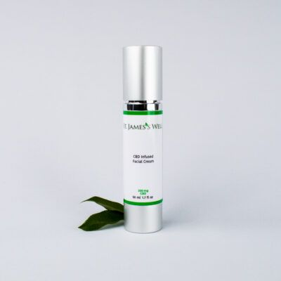 St. James's Well CBD Infused Facial Cream with leaf
