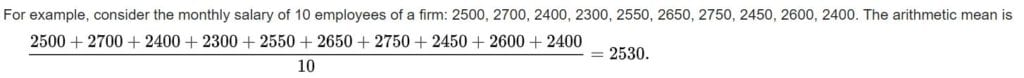 Example of arithmetic mean.