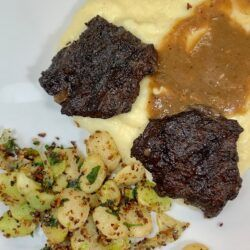 Beef Cheeks potato mash and limas