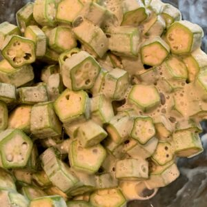 Okra in egg and milk
