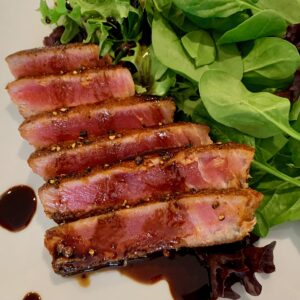 seared spicy tuna with balsamic reduction