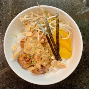 chicken with rice and red miso remoulade