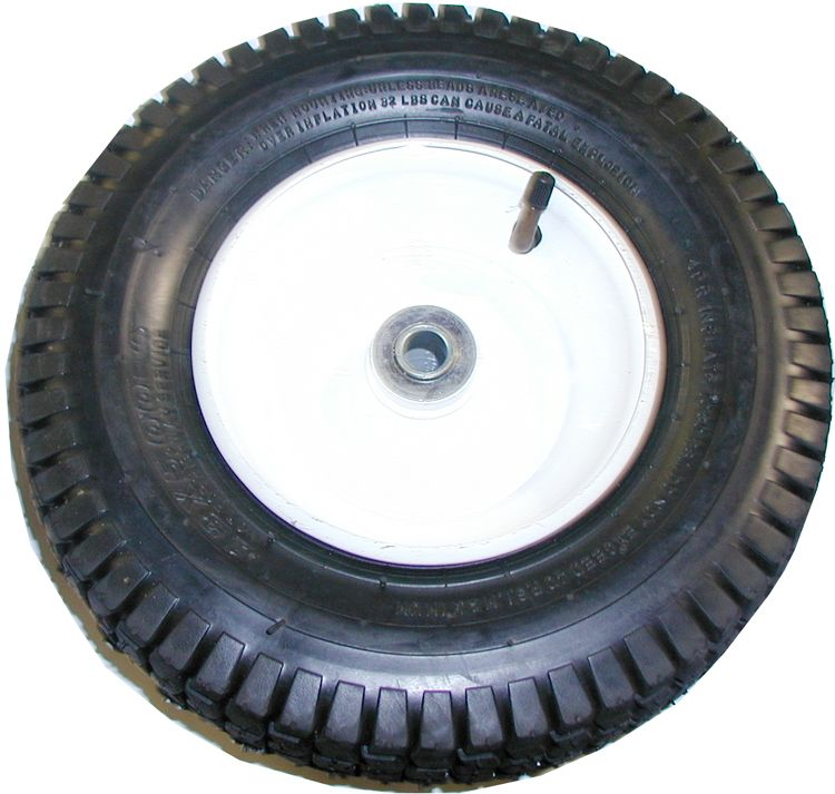 "Inflatable tire & rim assembly-13""Hx5""W, 6"" dia. Rim (with 5/8""ID ball bearing)"