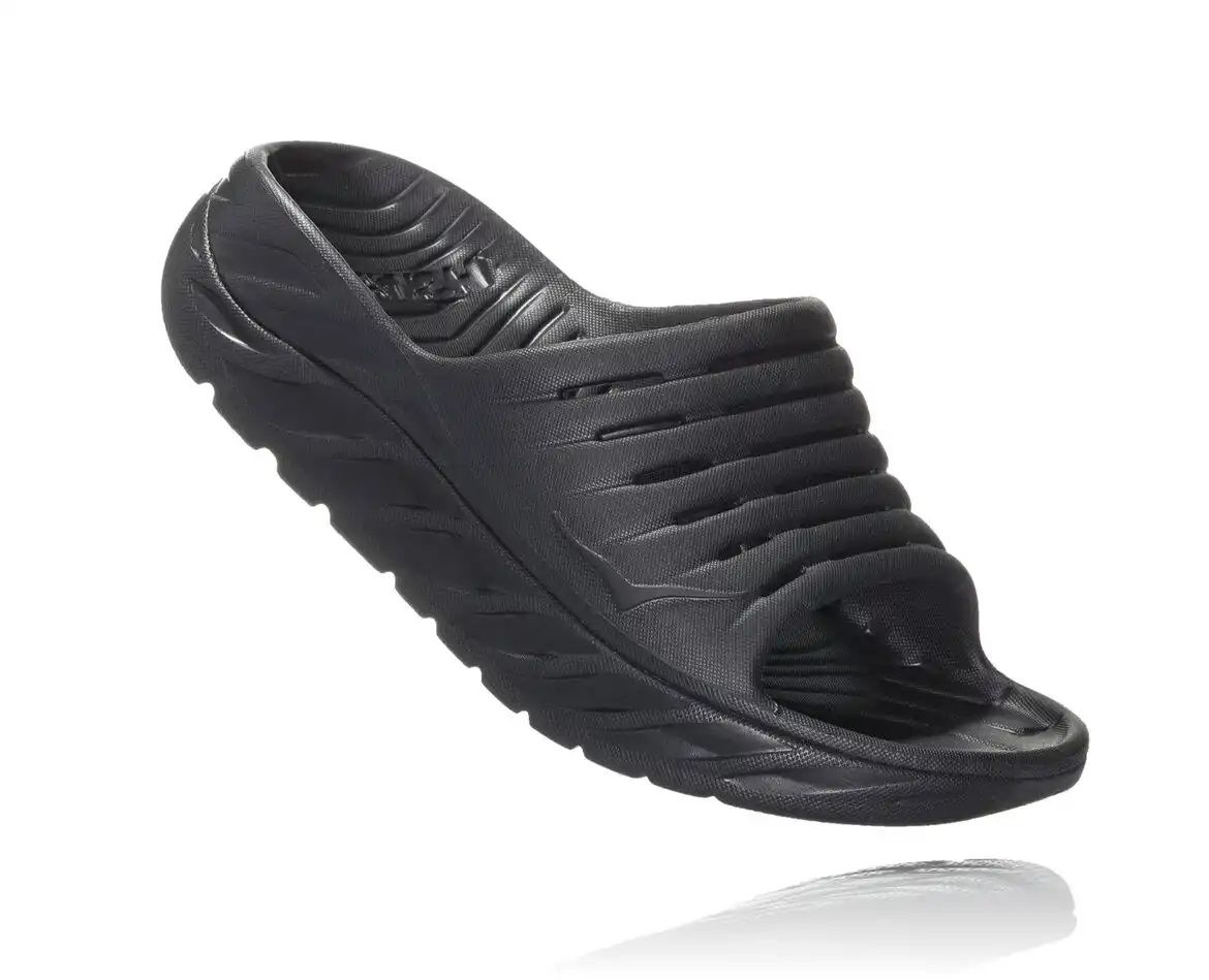 Hoka One One Mens Ora Recovery Slide Black Black Front
