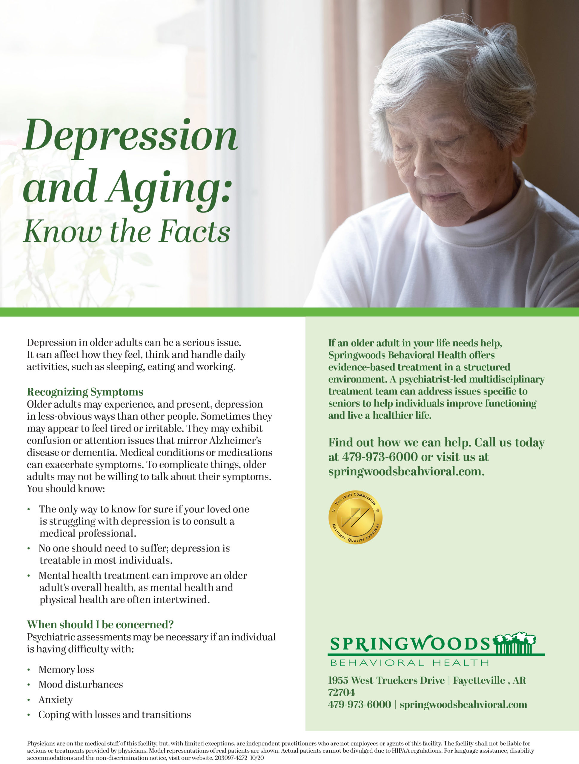 Aging Depression Flyer - Geriatric Psych Flyer - Senior Care Resources - 2021 SCA Aging Conference